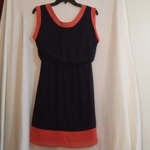 Enfocus Studio Navy Blue Orange Colorblock Dress